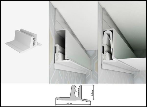 «T» - образная маскировочная лента вставлена в потолок в разрезе